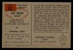 1954 Bowman #52  Lou Groza  Back Thumbnail