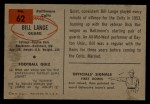 1954 Bowman #62  Bill Lange  Back Thumbnail