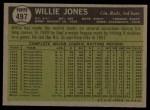 1961 Topps #497  Willie Jones  Back Thumbnail