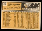 1963 Topps #257  Hank Aguirre  Back Thumbnail