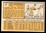 1963 Topps #192  Clay Dalrymple  Back Thumbnail