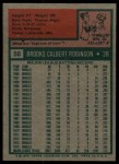 1975 Topps #50  Brooks Robinson  Back Thumbnail