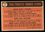 1966 Topps #123   -  Frank Bork / Jerry May Pirates Rookies Back Thumbnail