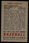 1951 Bowman #167  Murry Dickson  Back Thumbnail