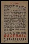 1951 Bowman #38  Al Evans  Back Thumbnail