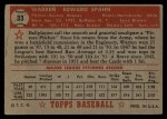 1952 Topps #33 RED Warren Spahn  Back Thumbnail