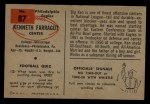 1954 Bowman #87  Kenneth Farragut  Back Thumbnail