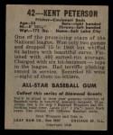 1949 Leaf #42  Kent Peterson  Back Thumbnail