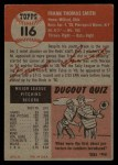 1953 Topps #116  Frank Smith  Back Thumbnail