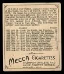 1910 T218 Champions #115 BOX Jim Jeffries  Back Thumbnail