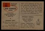1954 Bowman #25  John Schweder  Back Thumbnail
