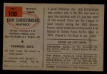 1954 Bowman #100  Jack Christiansen  Back Thumbnail