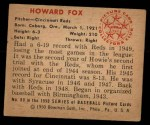 1950 Bowman #80  Howard Fox  Back Thumbnail