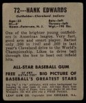 1949 Leaf #72  Hank Edwards  Back Thumbnail
