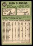 1967 Topps #192  Fred Gladding  Back Thumbnail