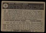 1952 Topps #40  Irv Noren  Back Thumbnail