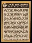 1968 Topps #87  Dick Williams  Back Thumbnail
