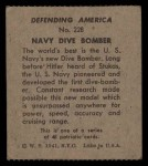 1941 W.S. Corp Defending America #228   Navy Dive Bomber Back Thumbnail