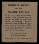 1941 W.S. Corp Defending America #220   Armored Gun Car Back Thumbnail