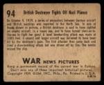 1939 Gum Inc. War News Pictures #94   British Destroyer Fights off Nazi Planes Back Thumbnail