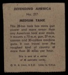 1941 W.S. Corp Defending America #217   Medium Tank Back Thumbnail