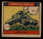1941 W.S. Corp Defending America #217   Medium Tank Front Thumbnail