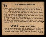 1939 Gum Inc. War News Pictures #96   Nazi Bombers Raid Scotland Back Thumbnail