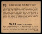 1939 Gum Inc. War News Pictures #98   German Cannonade Rocks Neutral Country Back Thumbnail