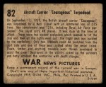 1939 Gum Inc. War News Pictures #82   Aircraft Carrier 'Courageous' Torpedoed Back Thumbnail