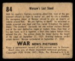 1939 Gum Inc. War News Pictures #84   Warsaw's Last Stand Back Thumbnail