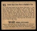 1939 Gum Inc. War News Pictures #93   British Flyers Down Nazis In Dog Fight At Sea Back Thumbnail