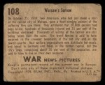 1939 Gum Inc. War News Pictures #108   Warsaw's Sorrow Back Thumbnail