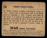 1939 Gum Inc. War News Pictures #14   England's General Ironsides Back Thumbnail