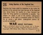 1939 Gum Inc. War News Pictures #25   Living Quarters On Siegfried Line Back Thumbnail
