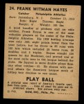 1940 Play Ball #24  Frank 'Blimp' Hayes  Back Thumbnail
