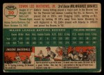1954 Topps #30  Eddie Mathews  Back Thumbnail