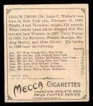 1910 T218 Champions #100  Leach Cross  Back Thumbnail
