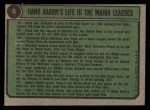 1974 Topps #5   -  Hank Aaron Special 1966-69 Back Thumbnail