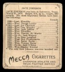 1910 T218 Champions #118 SID Jack Johnson  Back Thumbnail