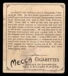 1910 T218 Champions #88  Alfredo deOro  Back Thumbnail