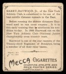 1910 T218 Champions #23  Harry Haywood  Back Thumbnail