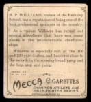 1910 T218 Champions #61  R.P. Williams  Back Thumbnail