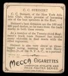 1910 T218 Champions #55  C.C. Steinart  Back Thumbnail