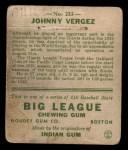 1933 Goudey #233  Johnny Vergez  Back Thumbnail