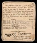 1910 T218 Champions #113  Dick Hyland  Back Thumbnail