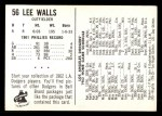 1962 Bell Brand Dodgers #56  Lee Walls  Back Thumbnail