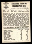 1960 Leaf #70  Humberto Robinson  Back Thumbnail