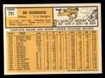 1963 Topps #295  Ed Roebuck  Back Thumbnail