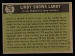 1961 Topps #75   -   Larry Jackson / Lindy McDaniel Lindy Shows Larry  Back Thumbnail