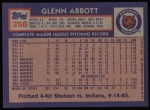 1984 Topps #356  Glenn Abbott  Back Thumbnail